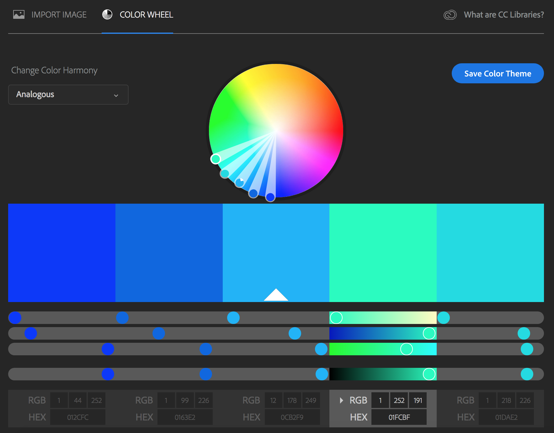 screenshot of Adobe Color Selector